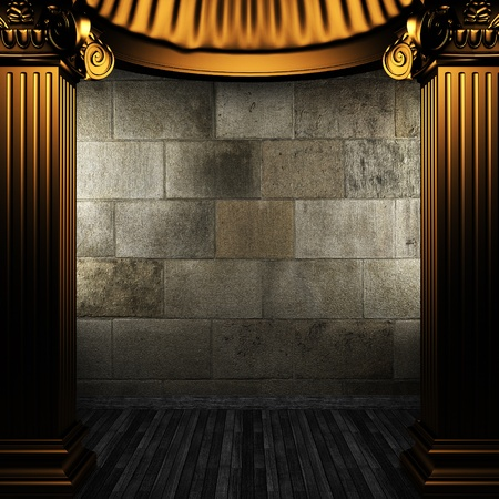 bronze columns and wall made in 3D photo