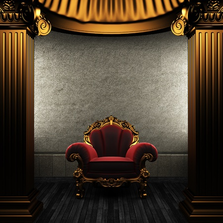 bronze columns and chair made in 3D Stock Photo - 8435486