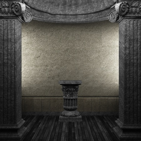 stone columns and pedestal made in 3D photo