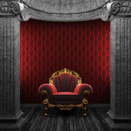 stone columns, chair and wallpaper  photo