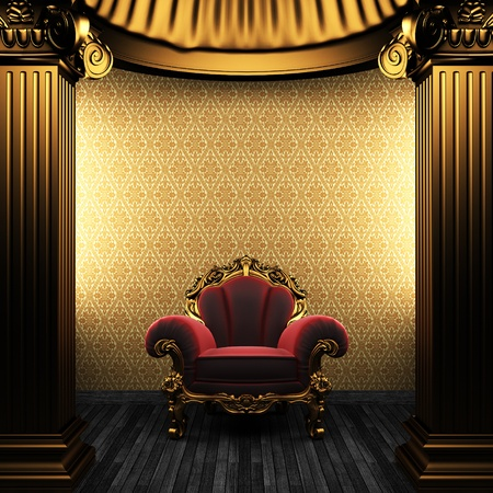 bronze columns, chair and wallpaper Stock Photo - 8435674