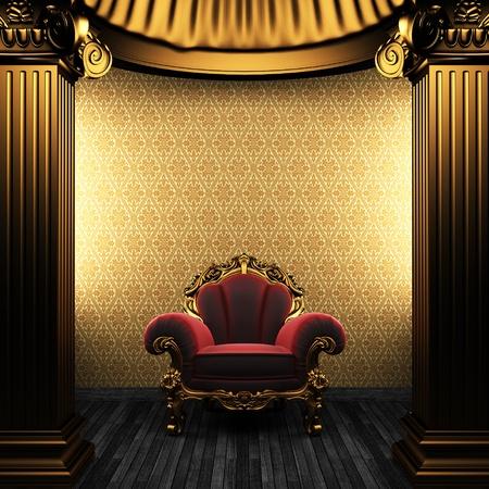 pilaster: bronze columns, chair and wallpaper