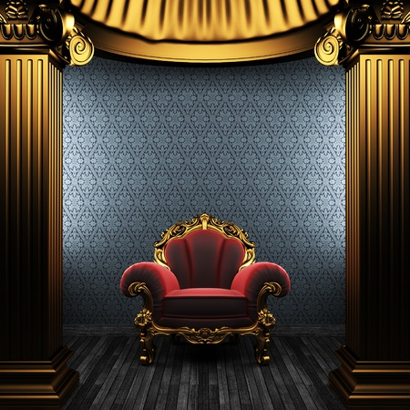 bronze columns, chair and wallpaper  photo