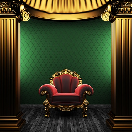 bronze columns, chair and wallpaper Stock Photo - 8435639