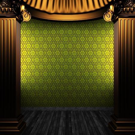 bronze columns and wallpaper  photo