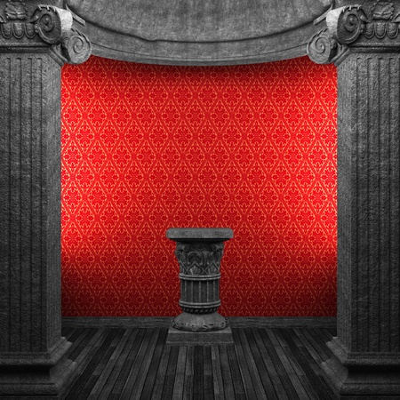 stone columns, pedestal and wallpaper made in 3D Stock Photo - 8446717