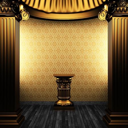 bronze columns, pedestal and wallpaper made in 3D