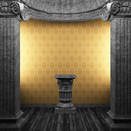 stone columns, pedestal and wallpaper made in 3D Stock Photo - 8446718