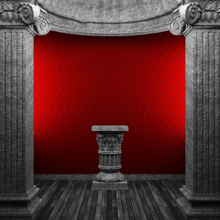 stone columns, pedestal and wallpaper made in 3D photo