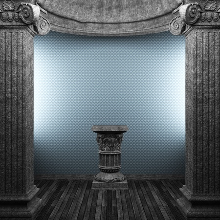stone columns, pedestal and wallpaper made in 3D Stock Photo - 8446707