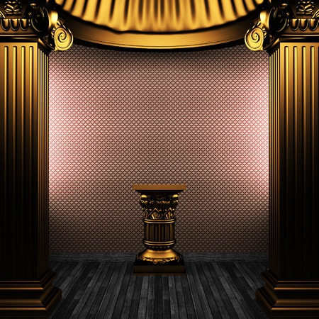 bronze columns, pedestal and wallpaper made in 3D photo