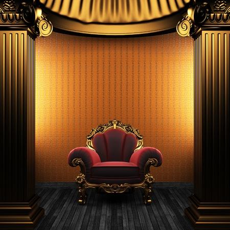 bronze columns, chair and wallpaper  photo