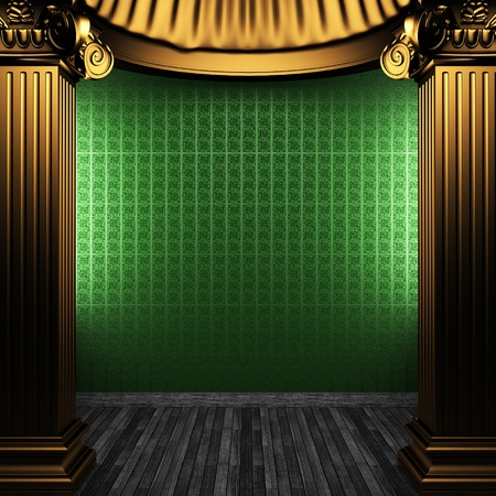 bronze columns and wallpaper  Stock Photo - 8455829