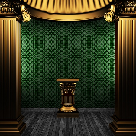 bronze columns, pedestal and wallpaper made in 3D Stock Photo - 8471229
