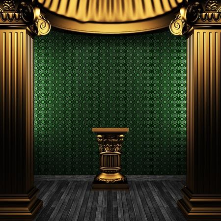 pilaster: bronze columns, pedestal and wallpaper made in 3D