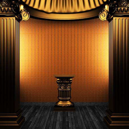 bronze columns, pedestal and wallpaper made in 3D Stock Photo - 8471270