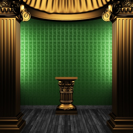 bronze columns, pedestal and wallpaper made in 3D Stock Photo - 8471238