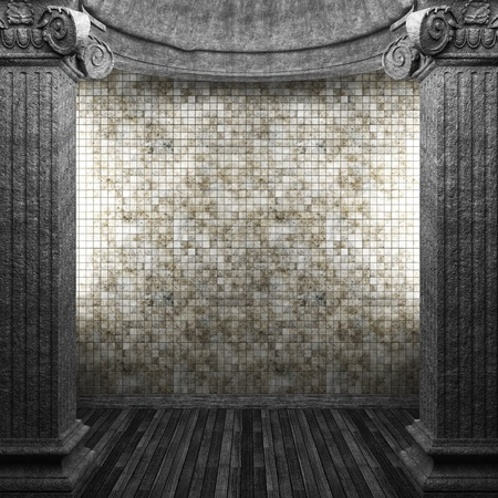 pilaster: stone columns and tile wall made in 3D