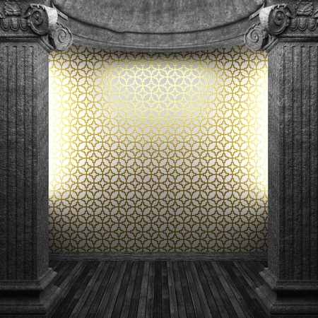 stone columns and tile wall made in 3D photo