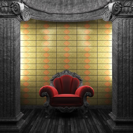 stone columns, chair and tile wall  Stock Photo - 8471338