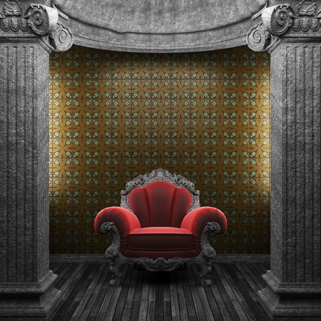 stone columns, chair and wallpaper made in 3D photo