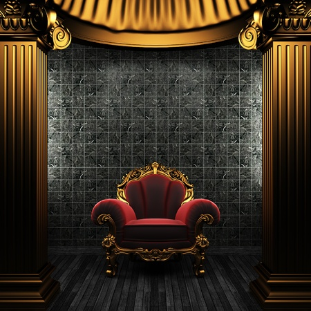 bronze columns, chair and tile wall Stock Photo - 8495480