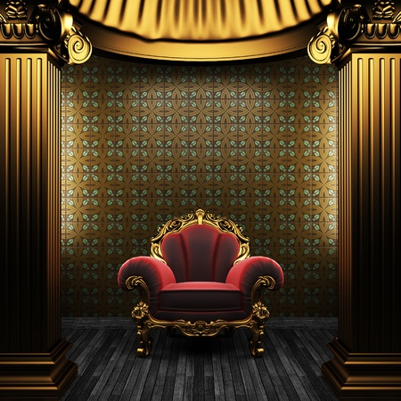 bronze columns, chair and tile wall Stock Photo - 8495459