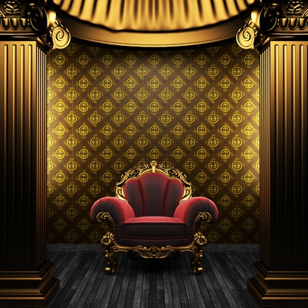 bronze columns, chair and tile wall Stock Photo - 8495457