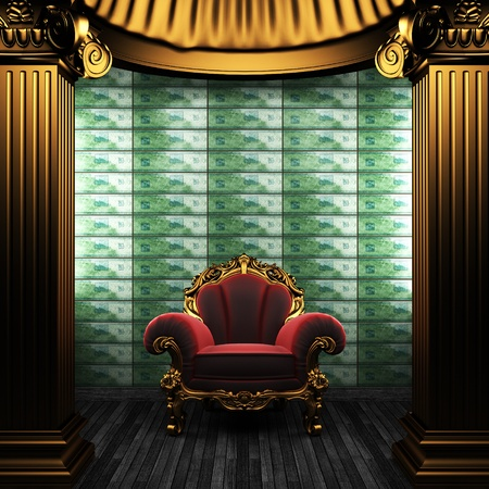 bronze columns, chair and tile wall  Stock Photo - 8495477