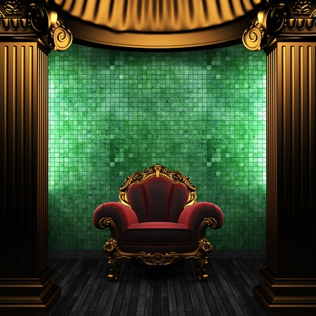 bronze columns, chair and tile wall Stock Photo - 8495465