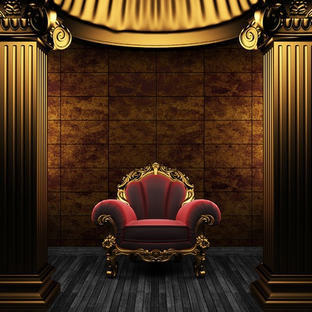 bronze columns, chair and tile wall made in 3D photo
