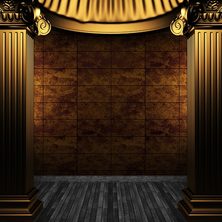 bronze columns and tile wall made in 3D Stock Photo - 8499100