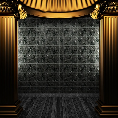 bronze columns and tile wall made in 3D Stock Photo - 8499107