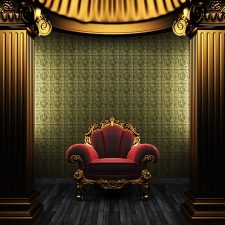 pilaster: bronze columns, chair and tile wall made in 3D Stock Photo