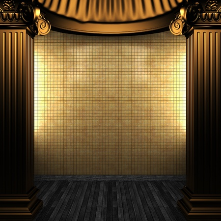 bronze columns and tile wall made in 3D Stock Photo - 8499007