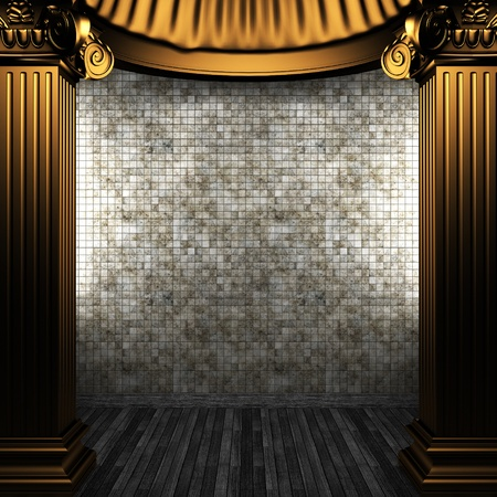 bronze columns and tile wall made in 3D Stock Photo - 8499083