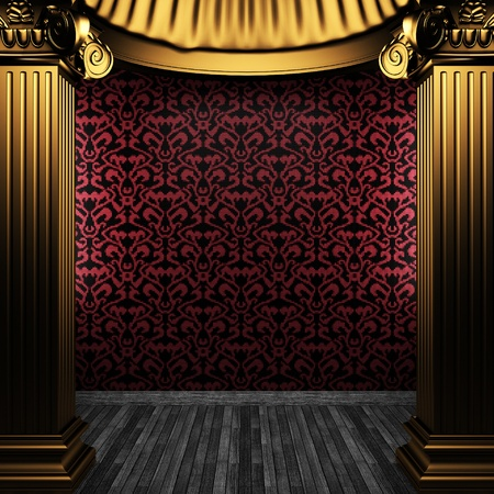bronze columns and tile wall made in 3D photo
