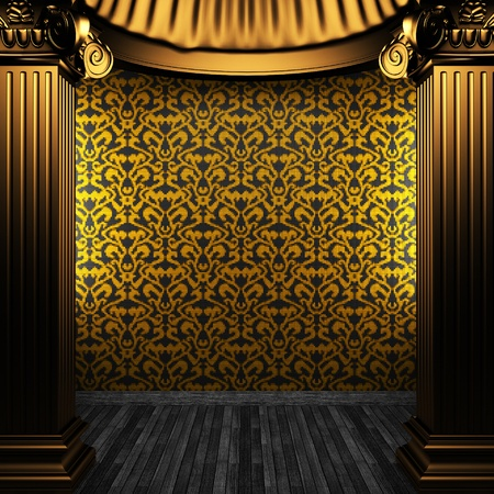 bronze columns and tile wall made in 3D Stock Photo - 8499098