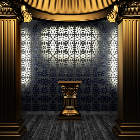 column arch: bronze columns, pedestal and tile wall made in 3D