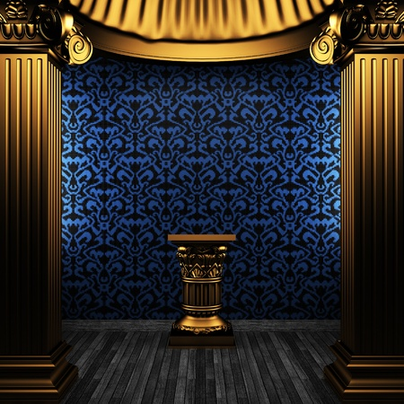bronze columns, pedestal and tile wall made in 3D Stock Photo - 8499011