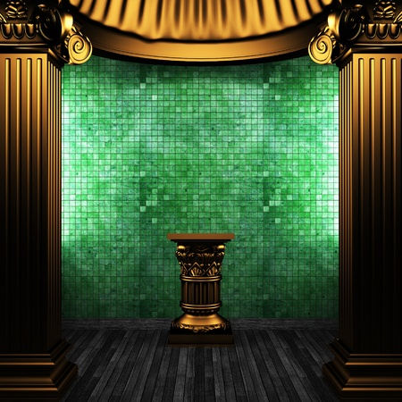 bronze columns, pedestal and tile wall made in 3D photo