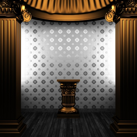 bronze columns, pedestal and tile wall made in 3D Stock Photo - 8499004