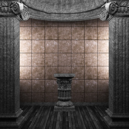 stone columns, pedestal and tile wall Stock Photo - 8502896