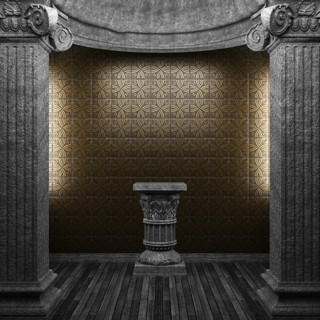 stone columns, pedestal and tile wall  photo