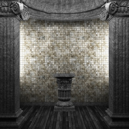 stone columns, pedestal and tile wall  Stock Photo - 8502892