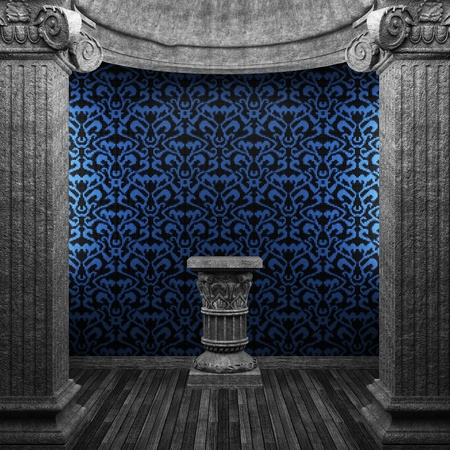 stone columns, pedestal and tile wall Stock Photo - 8502891