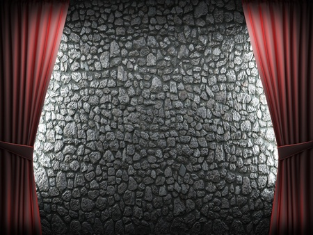 Red velvet curtain and stone wall made in 3d Stock Photo - 8508949