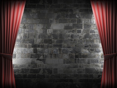 Red velvet curtain and stone wall made in 3d photo