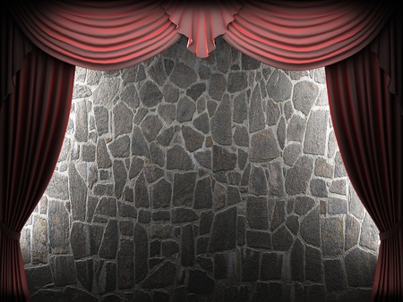 Red velvet curtain and stone wall made in 3d Stock Photo - 8508958