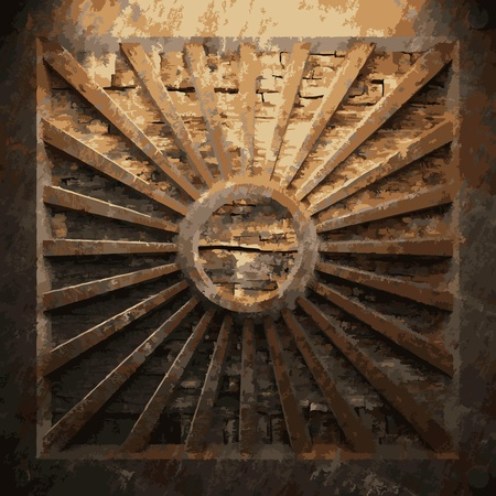 corrugated steel: rusty metal and wood plate made in Vector